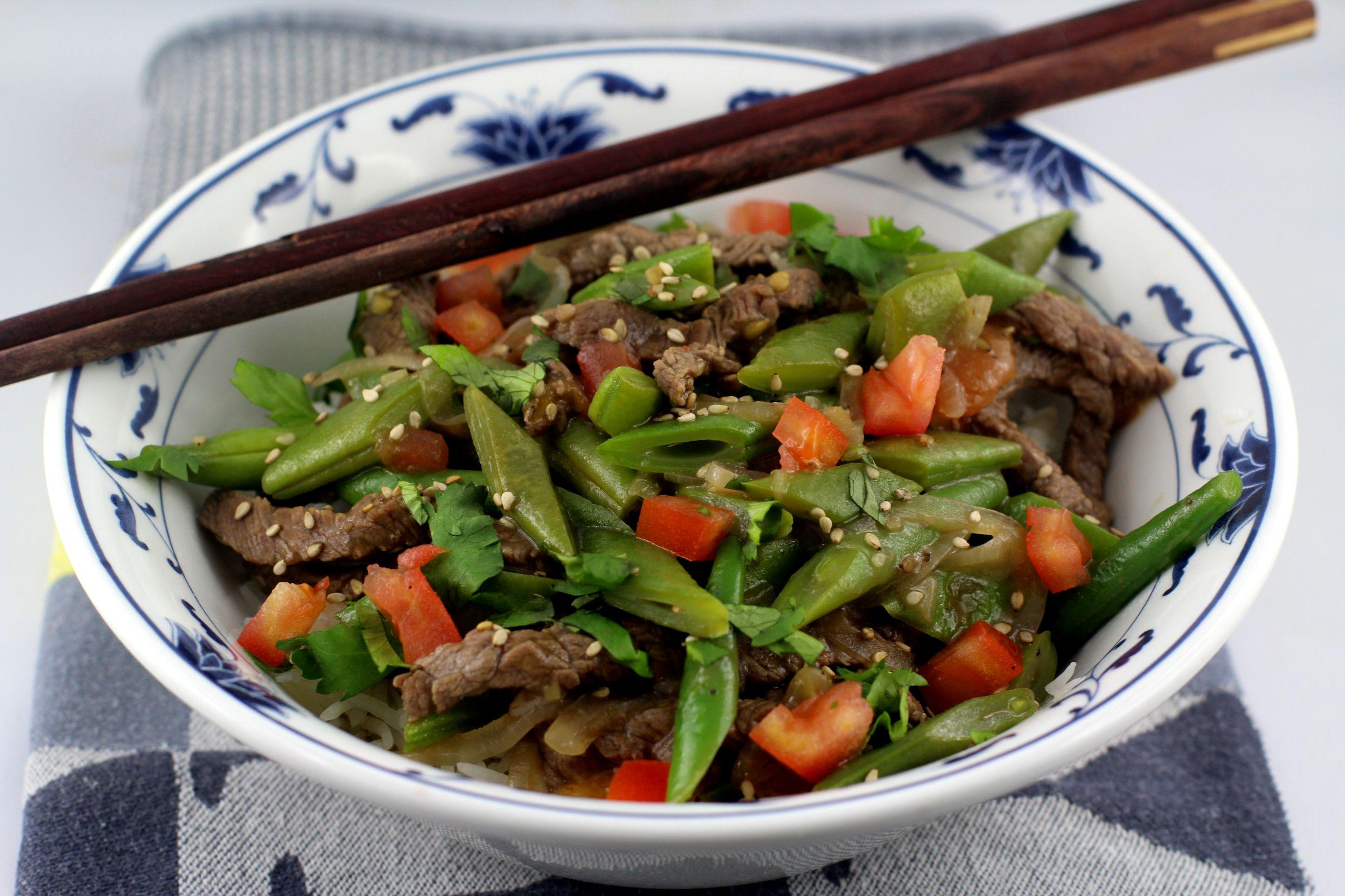 Cantonese Beef Stir Fry mit Quietschebohnen